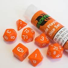 Dice - 16mm Role Playing Dice Set - Orange (7 Dice) - Blackfire  0