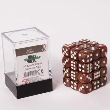 Blackfire Dice Cube - 12mm D6 36 Dice Set - Marbled Coffee 0