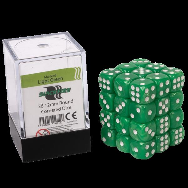 Blackfire Dice Cube - 12mm D6 36 Dice Set - Marbled Light Green 0