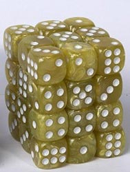 Dice Cube - 12mm D6 36 Dice Set - Marbled Yellow - Blackfire  0