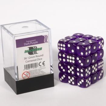 Dice Cube - 12mm D6 36 Dice Set - Transparent Dark Purple - Blackfire  0