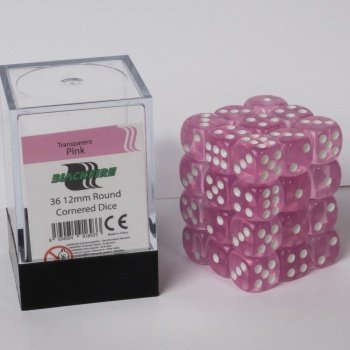 Blackfire Dice Cube - 12mm D6 36 Dice Set - Transparent Pink 0