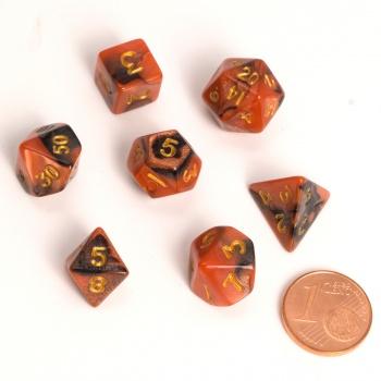 Dice - Fairy Dice RPG Set - BiColor Black Orange (7 Dice) - Blackfire 0