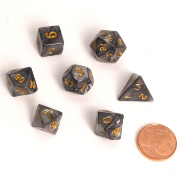 Dice - Fairy Dice RPG Set - Marbled Black (7 Dice) - Blackfire 0