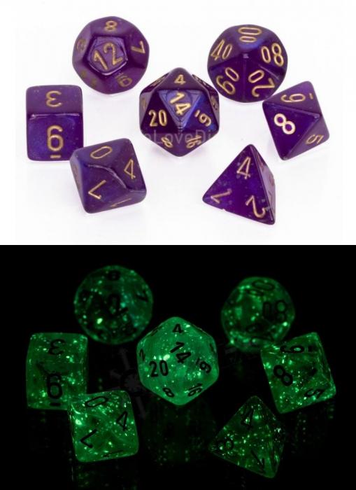 Borealis Polyhedral Royal Purple / Gold Luminary 7-Die Set - Chessex [1]