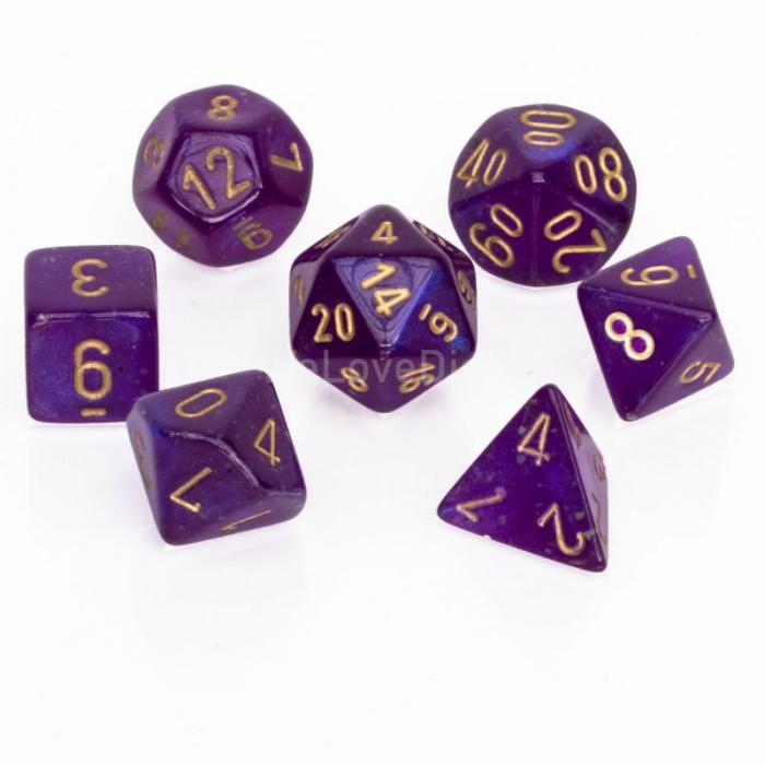 Borealis Polyhedral Royal Purple / Gold Luminary 7-Die Set - Chessex [0]
