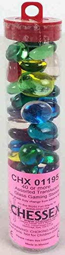 Chessex Gaming Glass Stones in Tube - Assorted Crystal (40) [0]