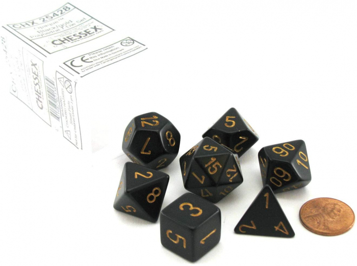 Opaque Polyhedral 7-Die Sets - Black w/gold - Chessex  0