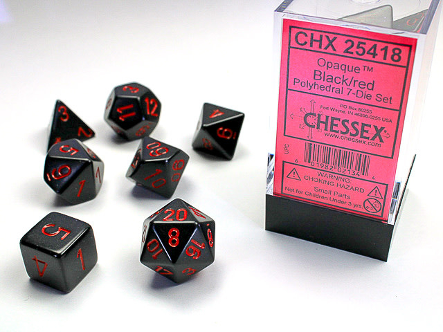 Opaque Polyhedral 7-Die Sets - Black w/red - Chessex  [0]