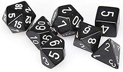 Opaque Polyhedral 7-Die Sets - Black w/white - Chessex  0