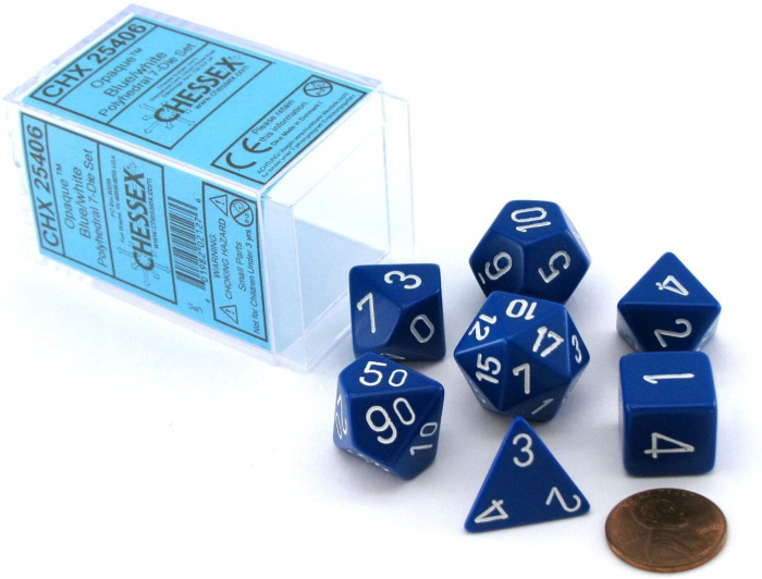 Opaque Polyhedral 7-Die Sets - Blue w/white - Chessex  0