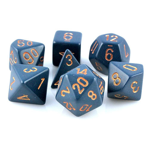 Opaque Polyhedral 7-Die Sets - Dusty Blue w/gold - Chessex  0
