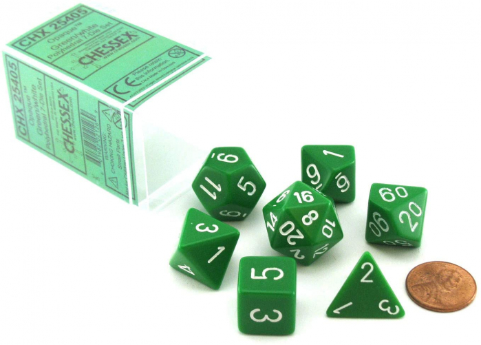 Opaque Polyhedral 7-Die Sets - Green w/white -  0