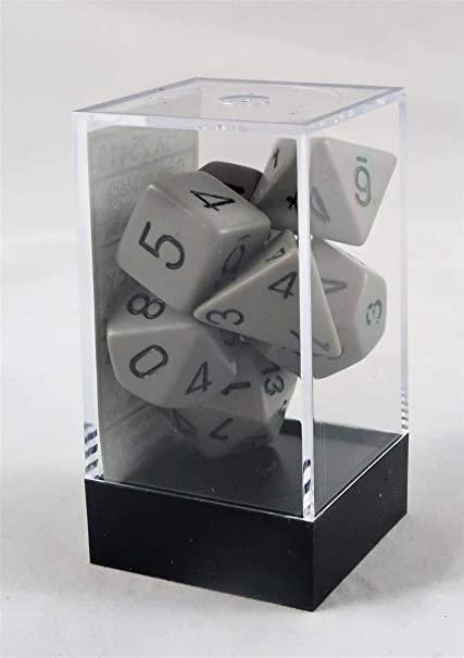 Opaque Polyhedral 7-Die Sets - Grey w/black - Chessex  0