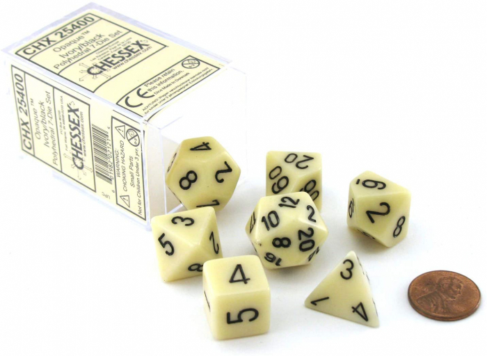 Opaque Polyhedral 7-Die Sets - Ivory w/black - Chessex  0