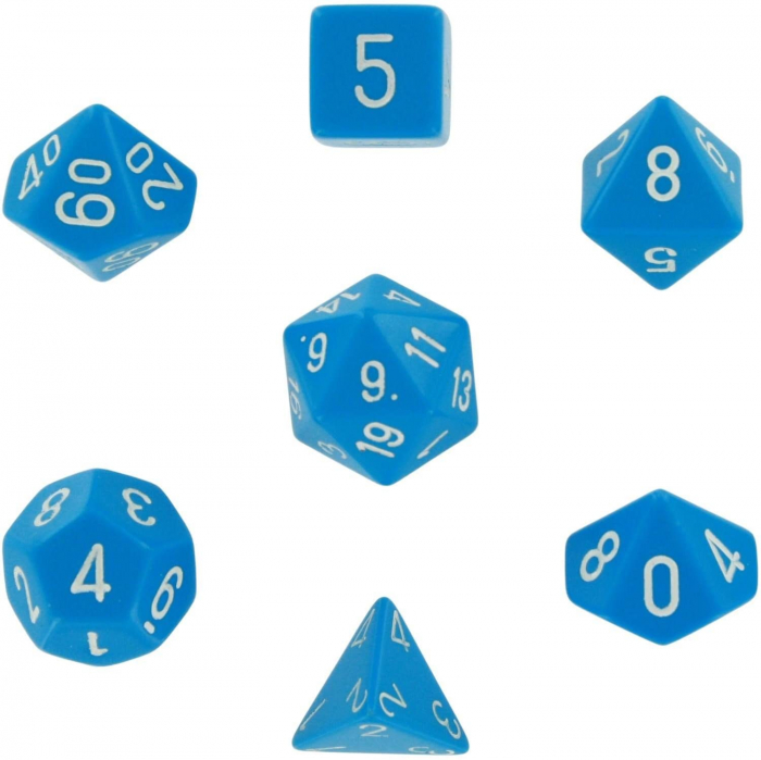 Opaque Polyhedral 7-Die Sets - Light Blue w/white - Chessex  0