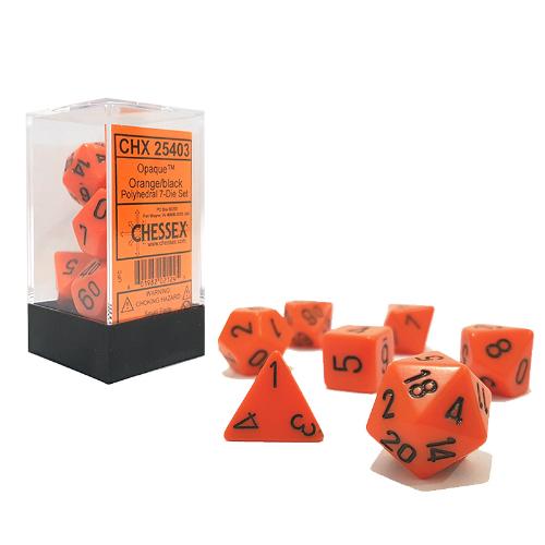 Opaque Polyhedral 7-Die Sets - Orange w/black - Chessex  0