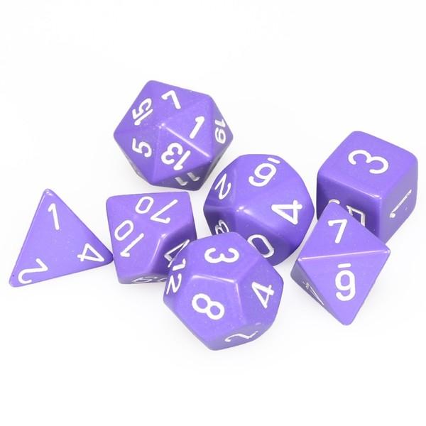 Opaque Polyhedral 7-Die Sets - Purple w/white - Chessex  0