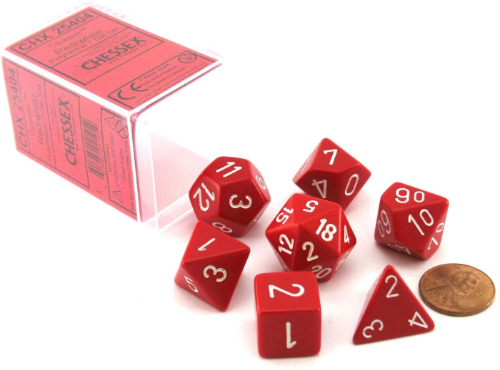 Opaque Polyhedral 7-Die Sets - Red w/white - Chessex  0