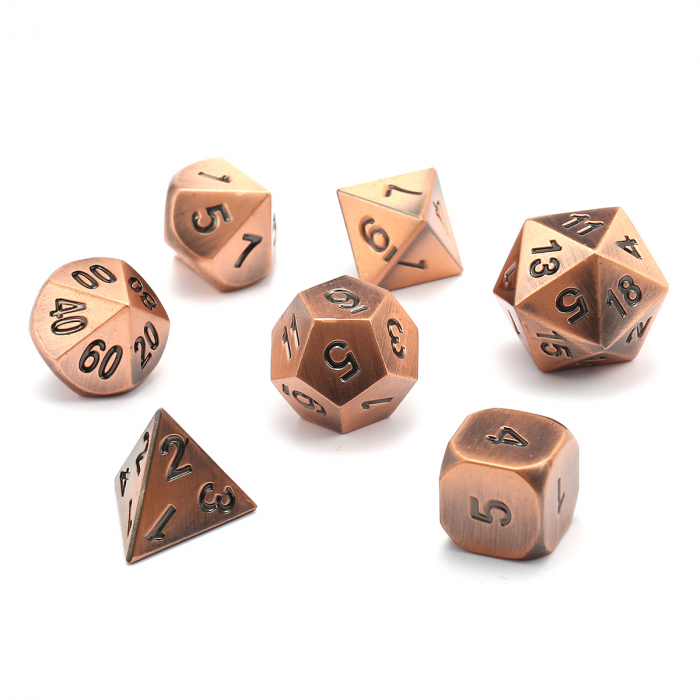 Specialty Dice Sets - Solid Metal Copper Colour Poly 7 die set - Chessex  0