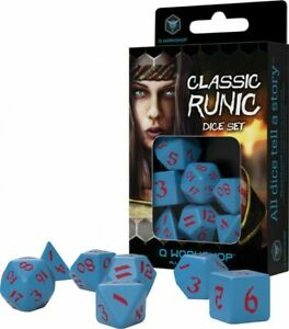Classic Runic Blue & Red Dice Set (7 Dice) 0