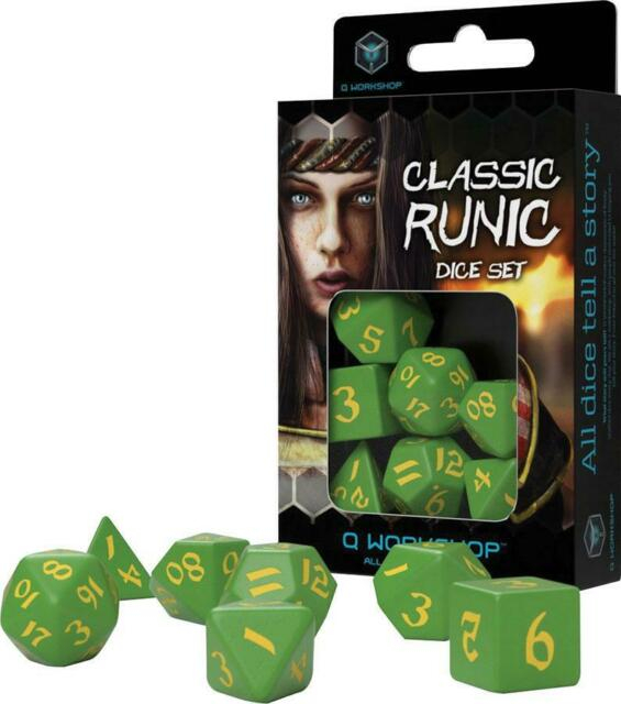 Classic Runic Green & Yellow Dice Set (7 Dice) - Q-Workshop 0