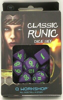 Classic Runic Purple & Green Dice Set (7 Dice) - Q-Workshop 0