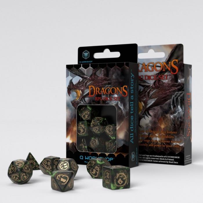 Dragons Bottle Green & Gold Dice Set (7 Dice) - Q-Workshop 0