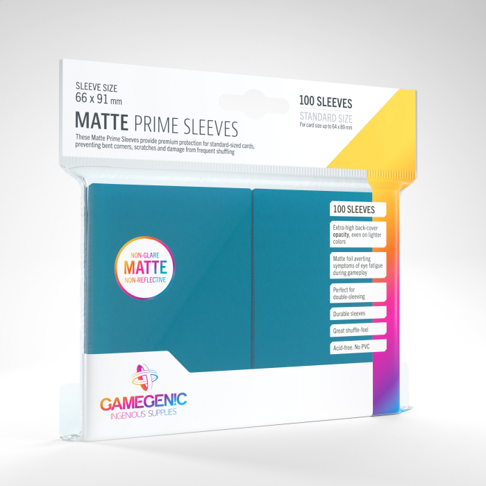Standard Sleeves: Matte Prime Blue 66x91mm (100 buc) - Gamegenic 0