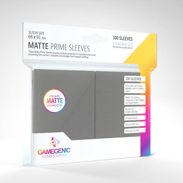 Standard Sleeves: Matte Prime Dark Gray 66x91mm (100 buc) - Gamegenic 0