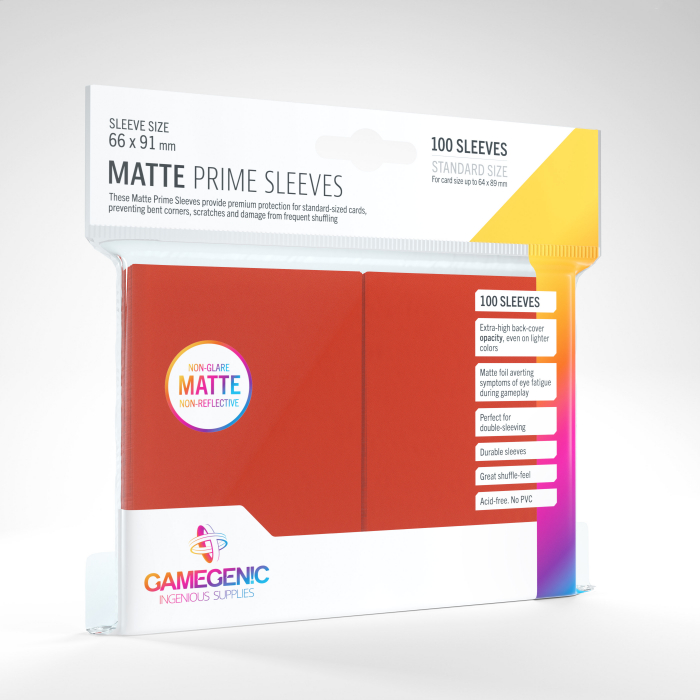 Standard Sleeves: Matte Prime Red 66x91mm (100 buc) - Gamegenic 0