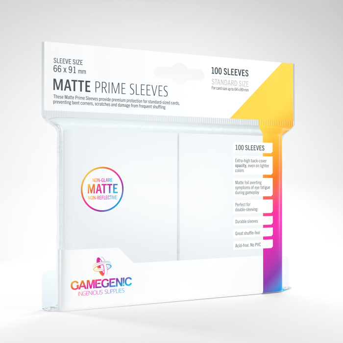 Standard Sleeves: Matte Prime White 66x91mm (100 buc) - Gamegenic 0