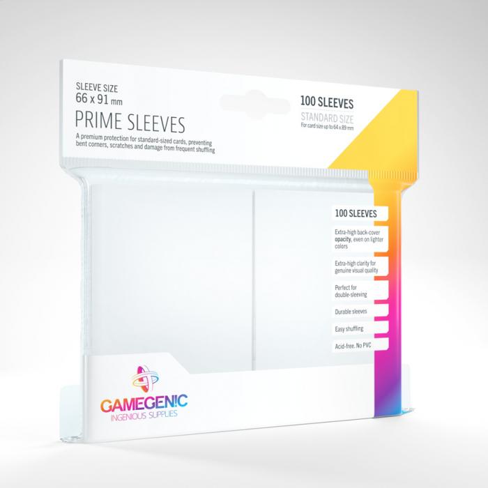 Standard Sleeves: Prime White 66x91mm (100 buc) - Gamegenic 1
