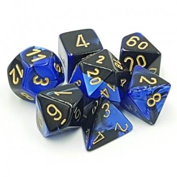 Gemini Poly 7 Set: Black-Blue/Gold - Chessex 0