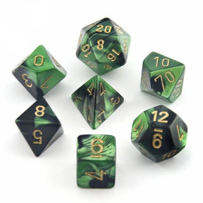 Gemini Poly 7 Set: Black-Green/Gold - Chessex 1