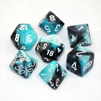 Gemini Poly 7 Set: Black-Shell/White - Chessex 0