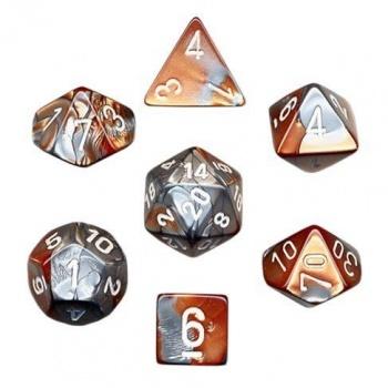 Gemini Poly 7 Set: Copper-Steel/White - Chessex 0