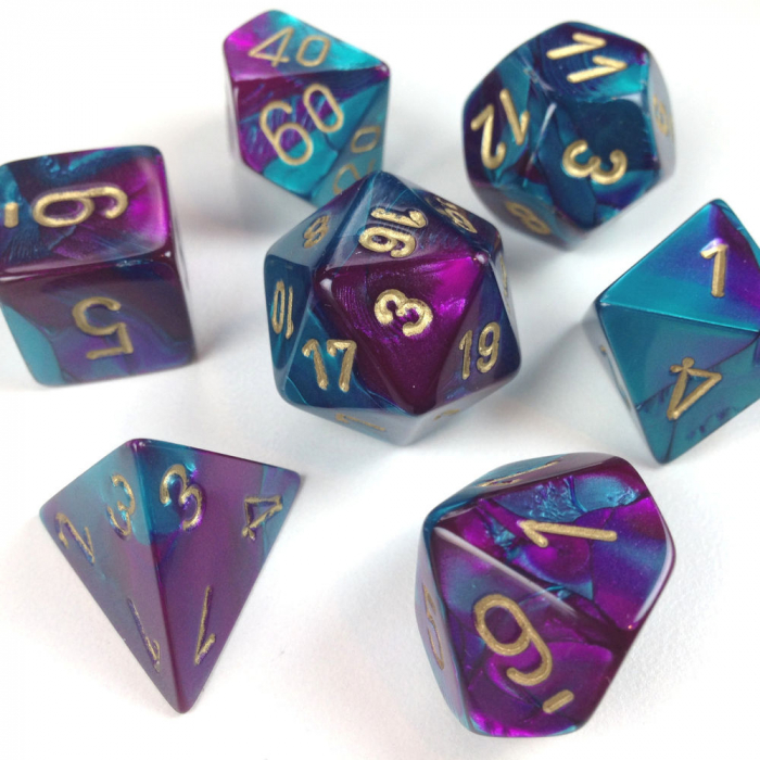 Gemini Poly 7 Set: Purple-Teal/Gold - Chessex 0