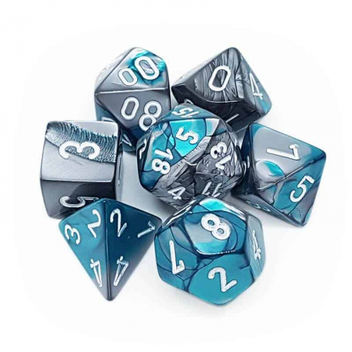 Gemini Poly 7 Set: Steel-Teal/White - Chessex 1