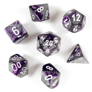 Gemini Polyhedral 7-Die Set - Purple-Steel w/white - Chessex 1