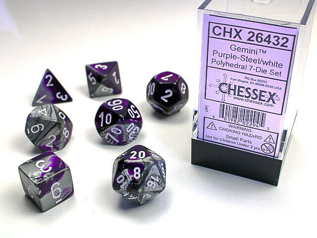 Gemini Polyhedral 7-Die Set - Purple-Steel w/white - Chessex 0