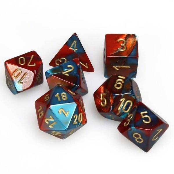 Gemini Polyhedral 7-Die Set - Red-Teal with gold - Chessex 0