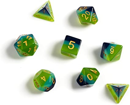 Green & Blue Translucent Polyhedral Dice Set - Sirius Dice 0