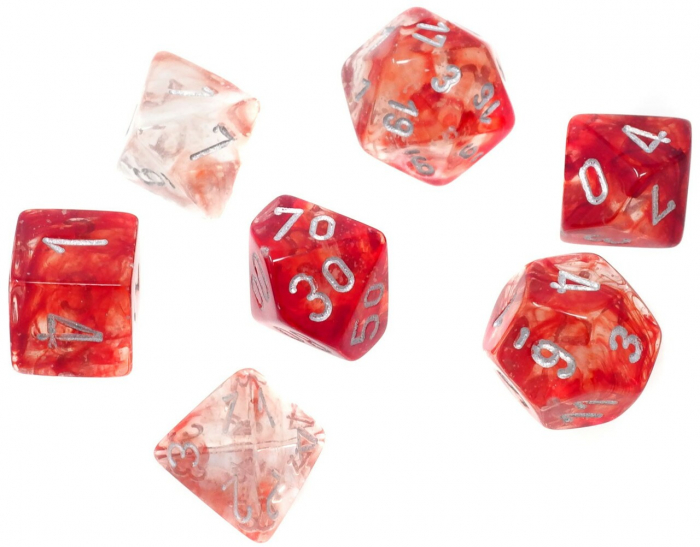 Nebula Luminary Red/Silver Polyhedral 7-Die Set [0]