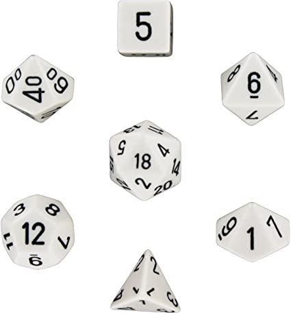 Opaque Polyhedral 7-Die Sets - White w/black - Chessex [1]