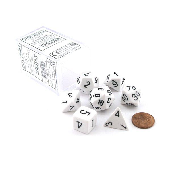 Opaque Polyhedral 7-Die Sets - White w/black - Chessex [0]