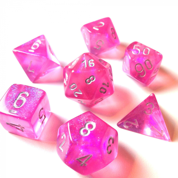 Poly 7 Set: Borealis Pink/silver - Chessex 0