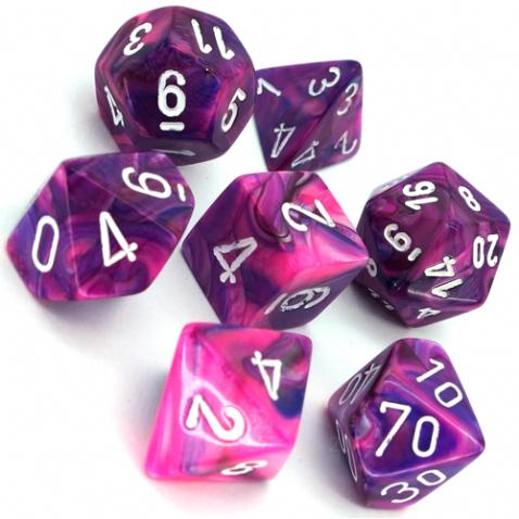 Poly 7 Set: Festive Violet w/white - Chessex 1