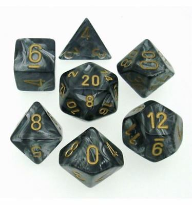 Poly 7 Set: Lustrous Black/gold - Chessex 0