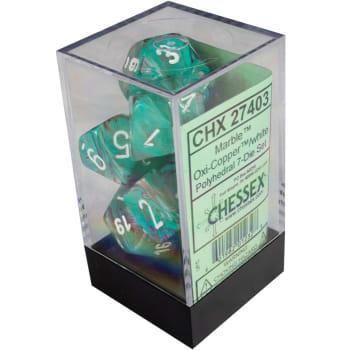 Poly 7 Set: Marble Oxi-Copper w/white - Chessex 0